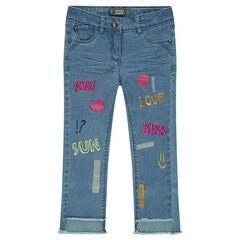 Jeans slim effet crinkle avec broderies et prints fantaisie