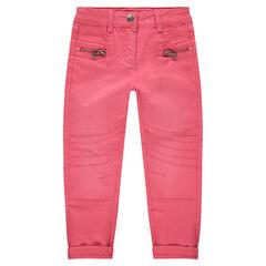 Pantalon en twill skinny avec jeux de découpes et de surpiqûres