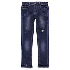 Junior - Jeans effet used et crinkle avec bandes appliquées