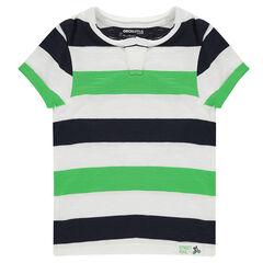 Tee-shirt manches courtes en jersey avec bandes contrastées