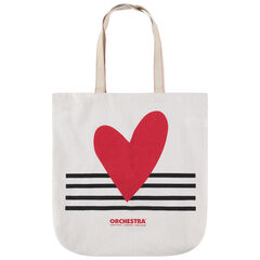 Tote bag en coton recyclé print coeur et rayures