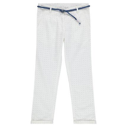 Junior - Pantalon chino en broderie anglaise avec ceinture tressée