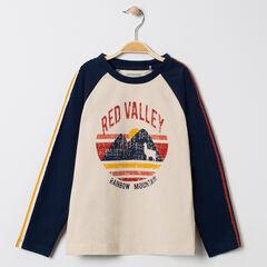 T-shirt manches longues à bandes et motif esprit vintage
