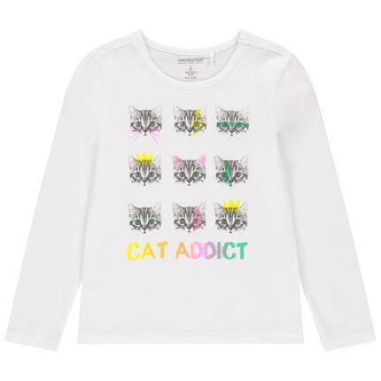 T-shirt manches longues en coton bio à imprimé fantaisie coloré