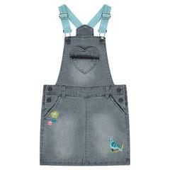 Robe en jeans avec bretelles élastiquées et motifs brodés