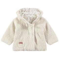 Veste en tricot doublée jersey avec poche plaquée