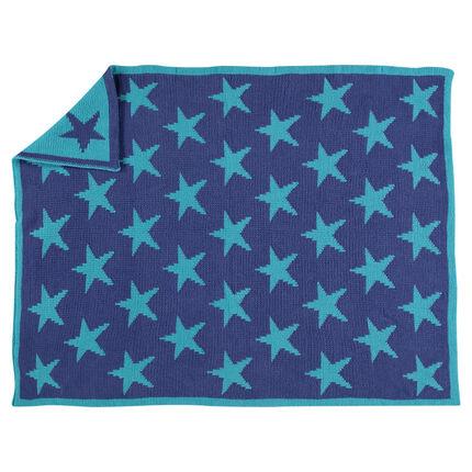 Couverture en tricot motif étoiles