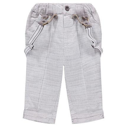 Pantalon en coton rayé avec bretelles amovibles