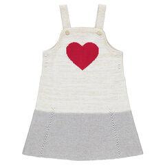 Robe salopette en tricot avec coeur rouge en jacquard