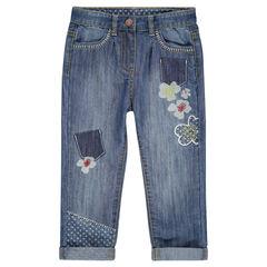 Jeans 7/8ème avec print et patchs