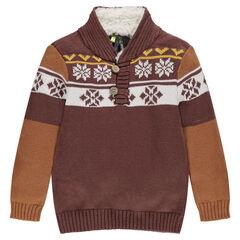 Pull en tricot motif jacquard avec col doublé sherpa