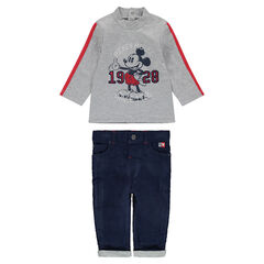 Ensemble avec tee-shirt print ©Disney Mickey et pantalon en velours