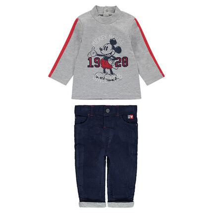 Ensemble avec tee-shirt print ©Disney Mickey et pantalon en velours