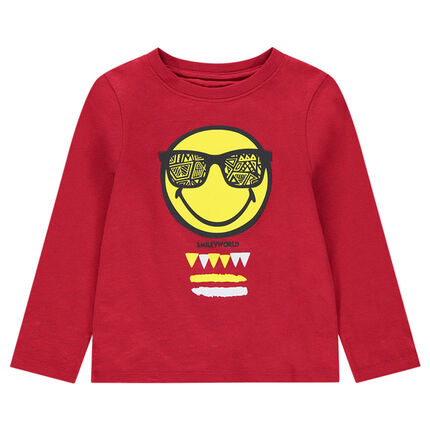 Tee-shirt manches longues rouge en jersey avec print Smiley