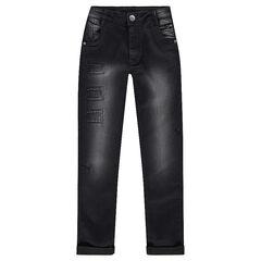 Junior - Jeans effet used et crinkle avec poche ticket zippée