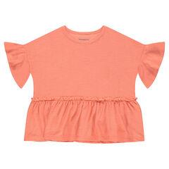 Tee-shirt manches courtes en jersey slub forme boîte volanté