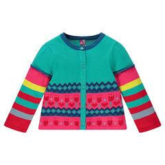 Gilet en tricot jacquard effet double manches