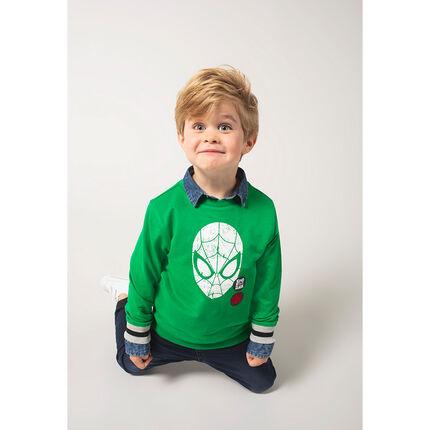 Sweat en molleton uni vert print ©Marvel Spiderman