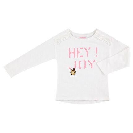 Tee-shirt manches longues en jersey avec message printé et galons frangés