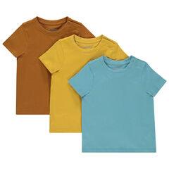 Lot de 3 t-shirts manches manches courtes unis en coton bio