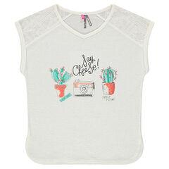 Junior - Tee-shirt manches courtes avec dentelle et print fantaisie