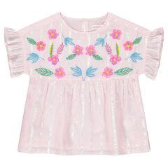 Top manches courtes à rayures iridescentes et fleurs brodées