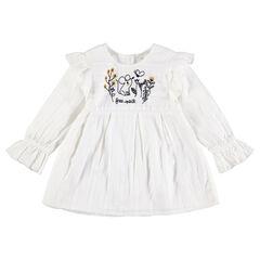 Tunique en coton fantaisie avec souris et fleurs brodées