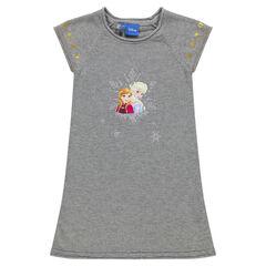 Robe manches courtes en tricot avec étoiles dorées et print Disney La Reine des Neiges