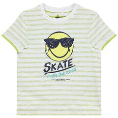 T-shirt manches courtes à revers rayé et print Smiley
