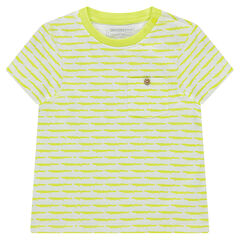 Tee-shirt manches courtes en jersey avec rayures fantaisie et poche