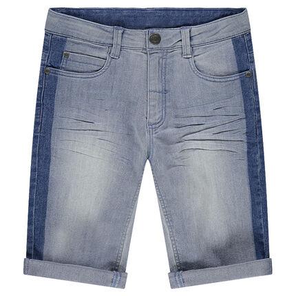 Junior - Bermuda en jeans effet used avec bandes contrastées
