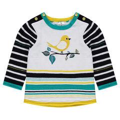 Pull en tricot avec rayures placées en jacquard et oiseau brodé