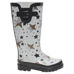 Bottes de pluie en caoutchouc avec étoiles imprimées all-over