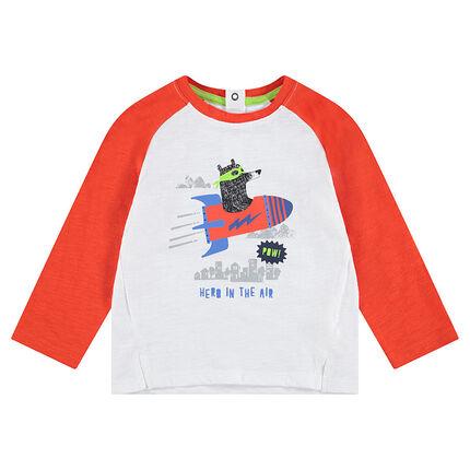 Tee-shirt manches longues bicolore en jersey avec ours printé