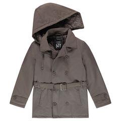 Junior - Trench en toile doublé jersey à capuche amovible