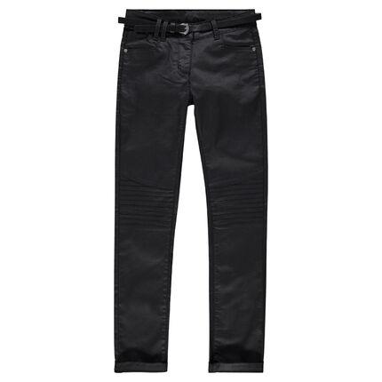 Junior - Pantalon en twill enduit avec ceinture