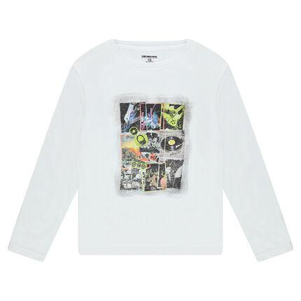 Junior - Tee-shirt manches longues en jersey avec print fantaisie sur le devant