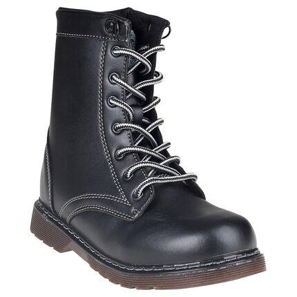 Demies bottes aspect cuir à lacets et zip
