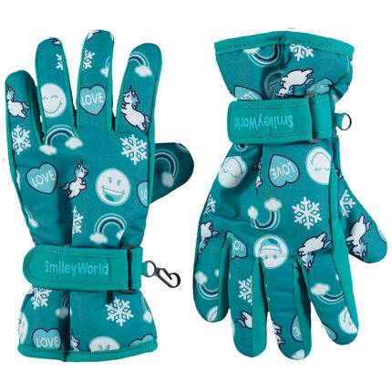 Gants de ski imprimés Smiley all-over