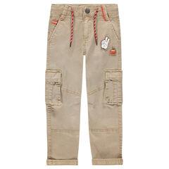 Pantalon style cargo en coton surteint avec badges patchés