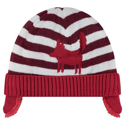Bonnet en tricot doublé sherpa avec rayures et motif en jacquard
