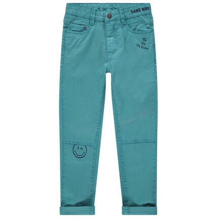 Pantalon en coton bleu à poches et prints Smiley