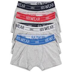 Lot de 4 boxers gris avec taille contrastée et inscription en jacquard