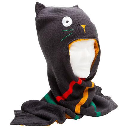 Bonnet écharpe en tricot doublé sherpa motif chat