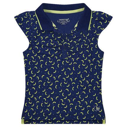 Polo manches courtes en jersey avec imprimé bananes all-over