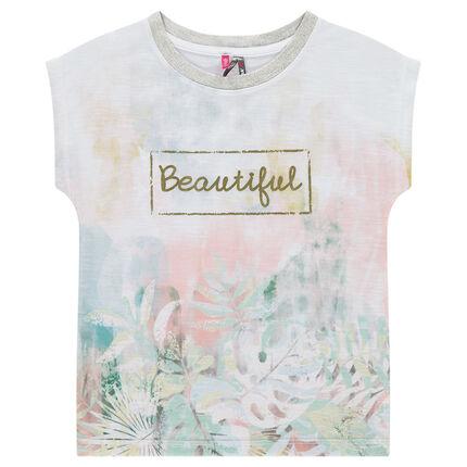 Junior - Tee-shirt manches courtes forme boîte avec sublimation fleurie