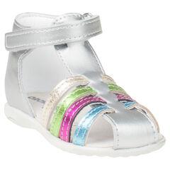 Nu-pieds argentés en cuir avec brides multicolores