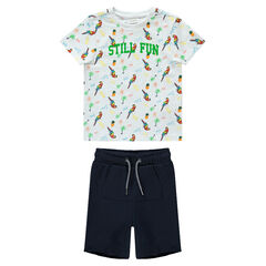 Ensemble avec tee-shirt imprimé perroquet et bermuda uni