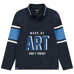Junior - Polo manches longues en jersey avec message printé