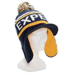 Bonnet en tricot avec cache oreilles et visière doublé micropolaire